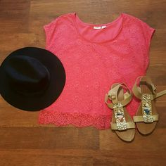 CATO lace top  Pink/Coral Cato lace top. No snags or pulls. It's the soft lace! Not a crop top! Even though it says Medium, you could always wear this oversized if you're smaller! Cato Tops
