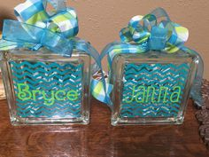 Glass block lights in turquoise chevron and lime green.