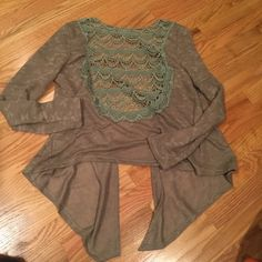 Crochet back YA sweater PRICE DROP Awesome crochet back light weight sweater. Army green color. From a boutique. (Copper penny) Ya Los Angeles Sweaters Cardigans