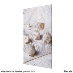 White Dice on Feather Canvas Print