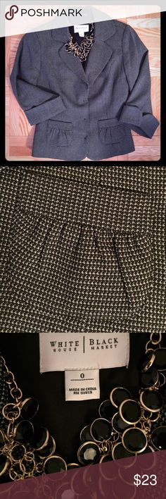 WHBM Blazer Gently worn WHBM black and white mini houndstooth patterned blazer.  Two cute pockets in front, 3/4 length sleeves. Size XS.  Fully lined. Excellent condition.  Sorry,NO trades. White House Black Market Jackets & Coats Blazers