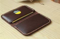 Leather Card Case / Slim Card Holder / Minimal Leather Wallet / Cash Card Holder【Please leave your contact phone number, the Courier need it very much】==Dimensions===【 Material 】 : Made from Leather Wallet Pattern, Handmade Leather Wallet, Leather Card Case, Leather Pouch, Leather Wallets, Leather Art, Leather Design, Leather Projects, Small Leather Goods