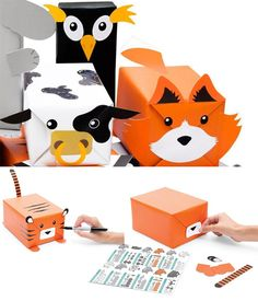 animal gift wrapping set by Luckies of London is a perfect way of decorating a gift to look like critters. Diy Wrapping Paper, Gift Wrapping Supplies, Creative Gift Wrapping, Creative Gifts, Christmas Gift Box, Christmas Gift Wrapping, Diy Animal Gift Wrap, Paper Animals, Baby Kind