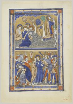 Manuscript Leaf with the Agony in the Garden and Betrayal of Christ, from a Royal Psalter