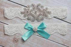 Tiffany Blue Wedding Garter - Aqua Rhinestone and Crystal Garter - Ivory Lace on Etsy, $23.00