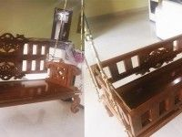 Buy carved teak wood baby swing cradle bed at MEC. Teak wood swing converted into cradle, strong & durable, to give your baby a safe & solid piece of furnishing. Baby Cradle Swing, Baby Swings, Cradle Bedding, Wood Swing, Indian Home Decor, Teak Wood, Porch Swing, Outdoor Furniture, Outdoor Decor