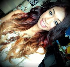 Have to have this color. dark brown - red - blonde ombre