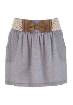Bow Belt Striped Skirt