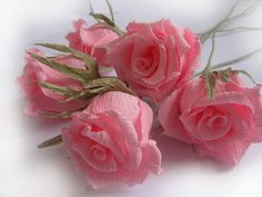 5 pcs Pink Roses Paper Wedding Tables Decorations by moniaflowers