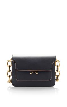 Black Vitello Leather Shoulder Bag by MARNI for Preorder on Moda Operandi