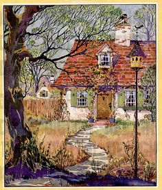Charming Vintage Cottage by DandDDigitalDelights Cosy Cottage, Cottage Art, Cottage Image, Storybook Cottage, Altered Art, Digital Image, Home Art, Paper Art, Watercolor Paintings