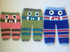 Crochet Monster Pants | Craftsy  These adorable pants would love great on any baby or toddler. You can be creative with it and create all different monsters (scary, silly, goofy, etc) Included is a step by step guide with plenty of pictures to help create one of these gems. Have fun!