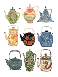 Becca Stadtlander teapots illustration The Enormous Tiny Art Show Teteras Art And Illustration, Food Illustrations, Coffee Illustration, Illustrator Design, Buch Design, Tea Art, Tea Bag Art, Art Graphique, Art Inspo