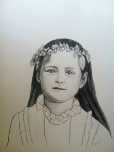 """St. Therese of Lisieux, """"The Little Flower"""" $89.00  This beautiful portrait of St. Therese of Lisieux by artist Megan Martin would make a wonderful gift for confirmation, birthday or any occasion. Small flowers are delicately placed in young Therese's hair because she is also known as """"The Little Flower.""""   Charcoal on paper Comes with black frame 11""""x15"""""""
