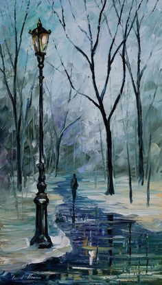 0195  Icy Path - Palette Knife Oil Painting On Canvas By Leonid Afremov Print by Leonid Afremov