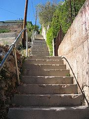 stairs in Bisbee AZ..There were 88.  I counted them as a child.  They led up to my house on Quality Hill.