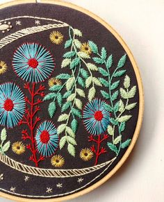 DIY Embroidery Kits for Craft Lovers From Cozy Blue on Etsy Diy Embroidery Kit, Floral Embroidery, Cross Stitch Embroidery, Embroidery Patterns, Garden Embroidery, Advanced Embroidery, Paper Embroidery, Textiles, Needle And Thread