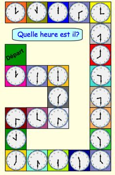 Quelle heure est il? Three telling time board games in French |