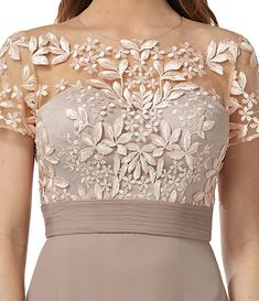 JS Collections Illusion Beaded Bodice A-Line Chiffon Gown Fashion Vestidos, Women's Fashion Dresses, Brides Mom Dress, Kebaya Lace, Elegant Dresses, Formal Dresses, Pakistani Wedding Outfits, Plus Size Gowns, Mother Of Groom Dresses