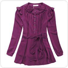 asian fashion office ladies chiffon blouse k801 Purple
