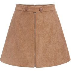 Zipper A-Line Coffee Skirt ($13) ❤ liked on Polyvore featuring skirts, bottoms, saia, coffee, short skirts, a-line skirts, above the knee skirts, knee length a line skirt and short a line skirt