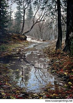 Russian Paintings Gallery - Adamow Alexis - 'October in Forest ...