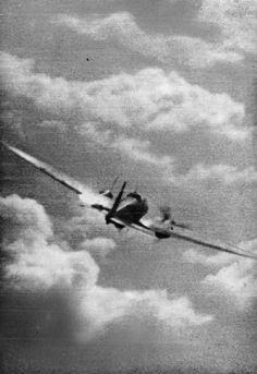 A still from camera gun footage taken from a Supermarine Spitfire Mark I of No. 609 Squadron RAF flown by Pilot Officer R F G Miller, showing a Heinkel He 111 of KG 53 or KG 55 taking hits in the port engine from Miller's machine guns. The aircraft was one of a force which bombed the Bristol Aeroplane Company's factory at Filton, Bristol. Miller was killed two days later when he collided head on with a Messerschmitt Bf 110 of III/ZG 26 over Cheselbourne, Dorset.