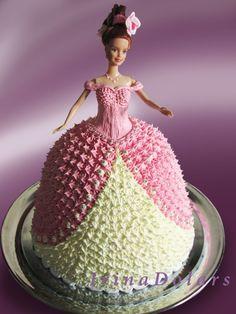 Barbie Doll Birthday Cake, Birthday Cake Girls, Cake Decorating Frosting, Cake Decorating Designs, Barbie Cake Designs, Cake Designs For Kids, Bolo Barbie, Beautiful Cake Designs, Homemade Birthday Cakes