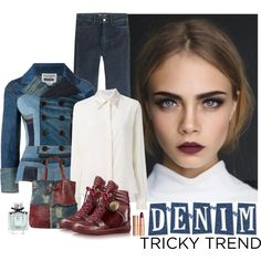 Denim Tricky Trend by katiethomas-2 on Polyvore featuring moda, STELLA McCARTNEY, MiH Jeans, Louis Vuitton, AmeriLeather, Charlotte Tilbury and Gucci