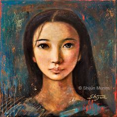 """""""An Enigmatic Face""""by Shijun Munns oil on canvas,16x16  2013  #Art  #OilPaintings #BlueArt"""