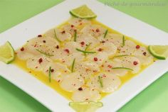 Carpaccio de Saint-Jacques marinade de citron vert et huile Coquille Saint Jacques, Wine Recipes, Cooking Recipes, Healthy Recipes, Food In French, Drink Recipe Book, Salty Foods, Secret Recipe, Appetizers