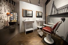 """[ENG] - A new look for the window display of the Lea Ceramiche showroom in Via Durini Milan. """"Grease"""", the new set conceived by Diego Grandi,. Kos, Interior Decorating, Interior Design, Types Of Flooring, Wall And Floor Tiles, Hard Floor, Floor Finishes, Hospitality Design, White Tiles"""