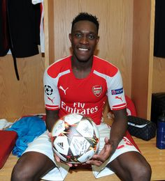Danny Welbeck with the matchball after his hat-trick in the Champions League match between Arsenal and Galatasaray. Arsenal 4-1 Galatasaray (October 2014) by Stuart MacFarlane