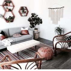 A bohemian style lounge, decorated in neutral tones with magnificent rattan armchairs. room Source by rhinov_ Boho Living Room, Home And Living, Living Room Decor, Bohemian Living, Small Living, Modern Living, Living Rooms, Living Room Inspiration, Home Decor Inspiration