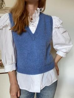 Knit Vest Pattern, Sweater Knitting Patterns, Knitting Designs, Sweater Vest Outfit, Vest Outfits, Casual Outfits, Work Tops, Knitwear, Diy Clothes