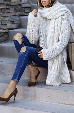 #fall #outfits · Ripped Jeans + White Scarf + Sweater