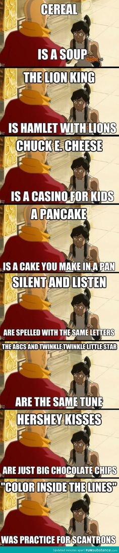 Lol the legend of Korra. << I haven't seen Legend of Korra, but this is funny. All Meme, Stupid Funny Memes, Funny Relatable Memes, Haha Funny, Funny Texts, Hilarious, Funny Stuff, Random Stuff, Funny Pranks