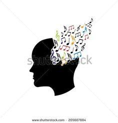 Concept of musical brain. Vector icon