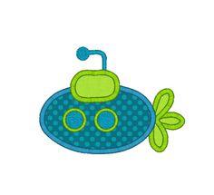 Submarine Applique Machine Embroidery Design. $3.00, via Etsy.