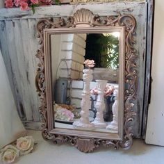 Champagne Gold Vintage Ornate Mirror, Shabby Chic Mirror, Elegant Mirror, Nursery Decor