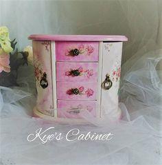 Pink Jewelry Box Hand Painted Girls Jewelry Box Decoupage