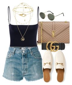 """Sin título #3362"" by camilae97 ❤ liked on Polyvore featuring Yves Saint Laurent, Gucci, RE/DONE, H&M and Versace"