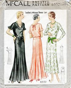 1930s dress McCall 6552 vintage sewing pattern day or evening occasion frill sleeves flared skirt bust 36 reproduction