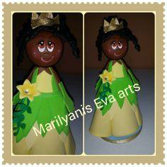 Fofucha princesa Tiana handmade by Marilyanis Eva Arts