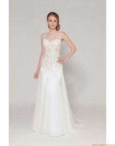 2015 A-linie Aparte Modische Brautkleider aus Softnetz mit Applikation