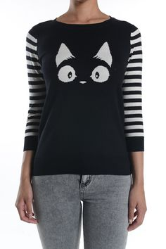 Black cat sweater with black and white striped three quarter length sleeves. 100% cotton Sizing advice: Model Kelly fits perfectly in a small.