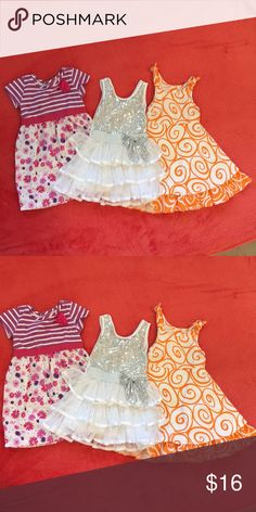 Bundle of 3 Toddler Summer Dresses - 3T Bundle of 3 girls summer dresses for your fun little Toddler!  Brands are Chicken Noodle San Francisco, Healthtex, and Popatu.   All in EUC and rarely worn.  The glitter dress is from my daughter's 3rd birthday party, and the other 2 dresses were basically only worn to church.  No trades! All offers considered! Questions? Ask away! Chicken Noodle Dresses