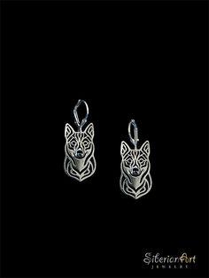 Swedish Vallhund earrings  sterling silver. by SiberianArtJewelry, $125.00