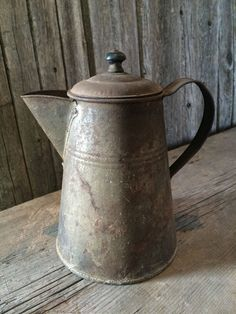 Primitive Early Antique Rusty Tin Coffee Pot | eBay