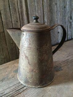 Primitive Early Antique Rusty Tin Coffee Pot | eBay